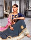 photo of Pink And Grey Color Beautiful Designer Party Wear Saree With Embroidery Work
