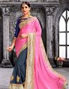 image of Pink And Grey Color Beautiful Designer Party Wear Saree With Embroidery Work