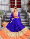 image of Designer Embroidered Saree In Blue Color With Unstitched Blouse