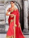 image of Dazzling Red And Pink Color Festive Wear Saree In Lovely Georgette And Net Fabric