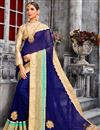 image of Glamorous Blue Color Party Wear Georgette Saree With Embroidery Work