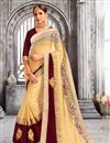image of Fabulously Embroidered Cream Color Designer Saree In Georgette And Net Fabric