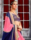 photo of Pink And Blue Color Beautiful Designer Party Wear Saree With Embroidery Work