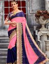image of Pink And Blue Color Beautiful Designer Party Wear Saree With Embroidery Work