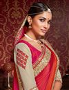 photo of Festive Wear Red And Cream Color Designer Saree In Satin And Georgette Fabric