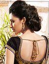 photo of Cream-Blue Festive Wear Designer Georgette Saree-9