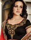 photo of Pink-Black Festive Wear Embroidered Saree-9017