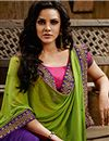 photo of Green-Purple Festive Wear Embroidered Lehenga Sare