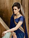 photo of Sky Blue-Blue Embroidered Chiffon Designer Saree-9