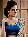 photo of Off White-Blue Jacquard Embroidered Designer Saree