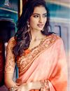 photo of Peach-Orange Jacquard Saree with Embroidery