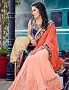 photo of Peach Embroidered Designer Chiffon-Net Saree