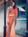 image of Peach Embroidered Designer Chiffon-Net Saree
