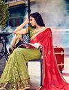 photo of Pink-Green Georgette-Net Embroidered Designer Sari