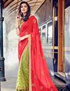 image of Pink-Green Georgette-Net Embroidered Designer Sari
