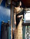 image of Black-Cream Jacquard-Net Designer Sari with Blouse