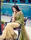 photo of Green-Cream Georgette Designer Saree with Blouse