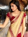 photo of Cream-Pink Chiffon-Georgette Embroidered Saree