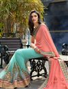 photo of Pink-Cyan Designer Georgette Saree with Embroidery