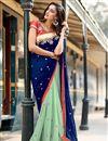 image of Blue Embroidered Designer Georgette Saree