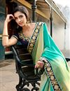 photo of Blue-Green Jacquard Designer Saree with Embroidery