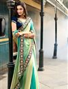 image of Blue-Green Jacquard Designer Saree with Embroidery
