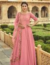 image of Pink Color Function Wear Embroidered Georgette Fabric Anarkali Dress