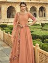 image of Georgette Fabric Party Wear Peach Color Embroidered Anarkali Suit