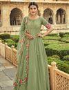 image of Georgette Fabric Sangeet Wear Embroidered Anarkali Salwar Kameez