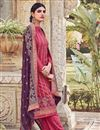 image of Pink Color Party Style Embroidered Chinon Fabric Palazzo Salwar Suit