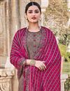 photo of Dark Beige Color Party Style Embroidered Chinon Fabric Palazzo Salwar Kameez