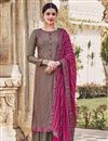 image of Dark Beige Color Party Style Embroidered Chinon Fabric Palazzo Salwar Kameez