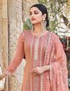 photo of Peach Color Chinon Fabric Party Style Embroidered Palazzo Salwar Kameez