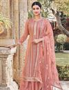 image of Peach Color Chinon Fabric Party Style Embroidered Palazzo Salwar Kameez