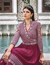 photo of Wine Color Function Wear Embroidered Georgette Fabric Sharara Suit