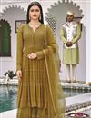 image of Mustard Color Festive Wear Embroidered Georgette Fabric Sharara Suit
