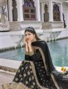 photo of Georgette Fabric Party Wear Black Color Embroidered Sharara Suit