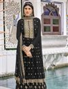 image of Georgette Fabric Party Wear Black Color Embroidered Sharara Suit