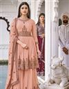 image of Peach Color Georgette Fabric Function Wear Embroidered Sharara Suit