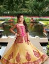 image of Embellished Silk Fabric Wedding Wear Girls Lehenga