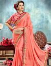 image of Salmon Color Wedding Function Wear Saree With Fancy Poncho Style Blouse
