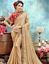 image of Cream Chiffon Wedding Wear Fancy Saree With Poncho Style Blouse