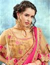 photo of Eid Special Peach Wedding Function Wear Saree With Fancy Poncho Style Blouse