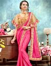 image of Eid Special Peach Wedding Function Wear Saree With Fancy Poncho Style Blouse