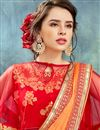 photo of Wedding Wear Orange Chiffon Designer Saree With Poncho Style Blouse