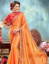 image of Wedding Wear Orange Chiffon Designer Saree With Poncho Style Blouse