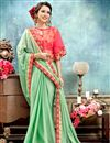 image of Designer Sea Green Party Wear Saree With Poncho Style Blouse