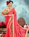 image of Salmon Color Wedding Wear Fancy Saree With Poncho Style Blouse