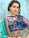 photo of Wedding Function Wear Sky Blue Chiffon Saree With Fancy Poncho Style Blouse