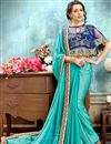 image of Wedding Function Wear Sky Blue Chiffon Saree With Fancy Poncho Style Blouse